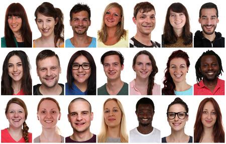 Verzameling groepsportret van multiraciale jonge lachende mensen geïsoleerd op een witte achtergrond
