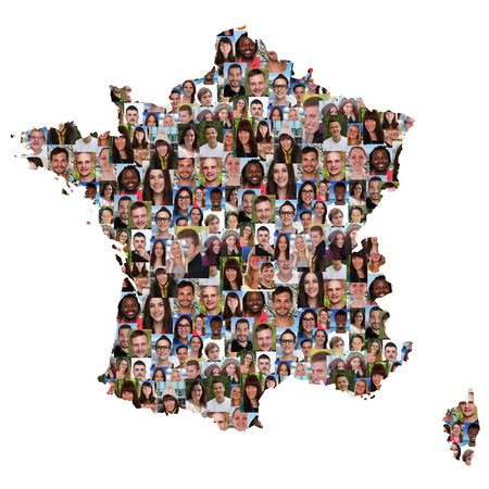 multi racial groups: France map multicultural group of young people integration diversity isolated Stock Photo