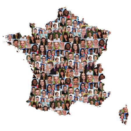 collage caras: Francia mapa grupo multicultural de j�venes aislados diversidad integraci�n