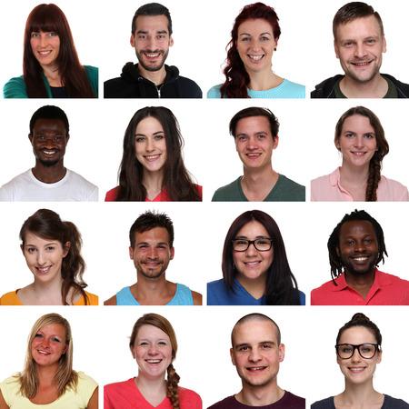 白い背景の上で孤立した者を笑って多民族の若者のグループの肖像画を設定します。