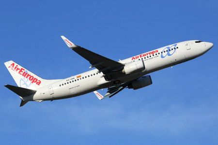 barajas: Madrid, Spain - March 5, 2015: An Air Europa Boeing 737-800 aircraft with the registration EC-ISN taking off from Madrid Barajas Airport (MAD). Air Europa is an airline from Spain with 55 aircraft in operation. Editorial