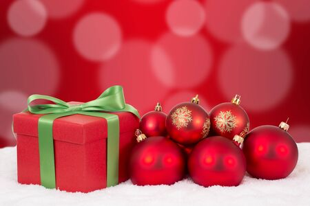 copyspace: Christmas card gift decoration with red balls and copyspace Stock Photo