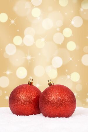 copyspace: Christmas balls background golden decoration with copyspace Stock Photo