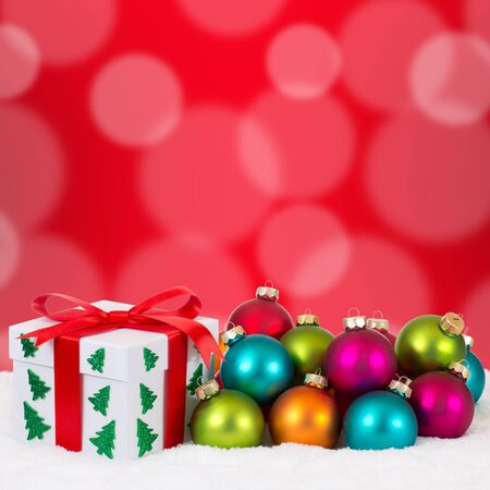 copyspace: Christmas gifts gift decoration with colorful balls, snow and copyspace Stock Photo