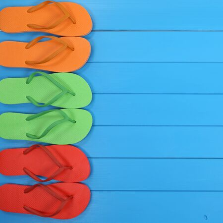 flops: Flip Flops sandals in summer on vacation, beach, holidays with copyspace