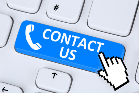 telephone: Contact us calling service customer hotline telephone symbol on computer keyboard Stock Photo