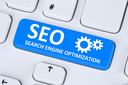 SEO Search Engine Optimization for websites on the internet on computer Standard-Bild