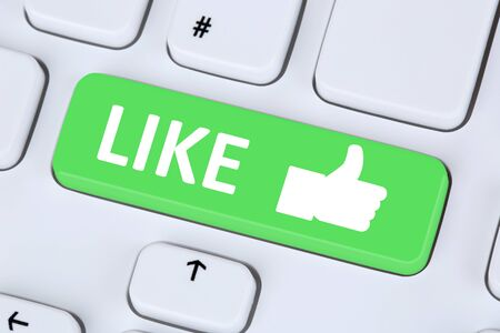 internet buttons: Like button icon thumb up social media or network on internet computer keyboard