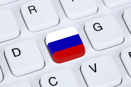 russia flag: Russia flag online internet on computer keyboard
