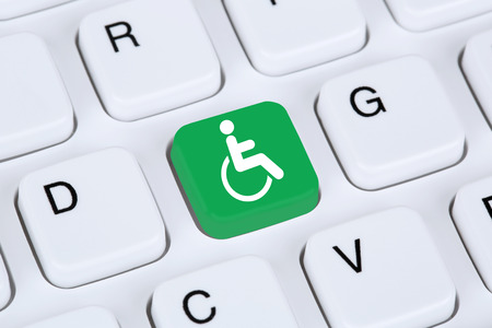 Web accessibility online on internet website computer for handicap people with disabilities Foto de archivo