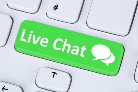 contact information: Live Chat contact communication service symbol information on computer keyboard