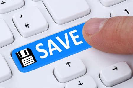 hard disk: Push button save data on computer hard disk keyboard