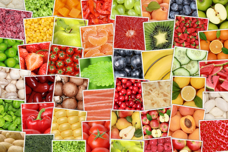 veggies: Vegan vegetarian fruits and vegetables background with tomatoes, lemons, apples, oranges Stock Photo