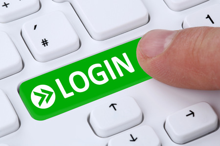 login button: Push Login button submit with password on computer Stock Photo
