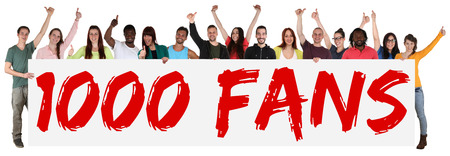 followers: 1000 fans likes social networking media sign group of young people holding banner isolated