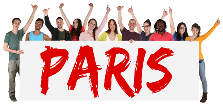 multi ethnic: Paris group of young multi ethnic people holding banner isolated Stock Photo