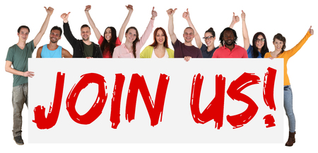 Join us sign group of young students multi ethnic people holding banner isolated
