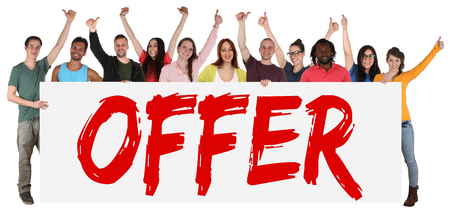 offer: Special offer sign group of young people sale while shopping isolated