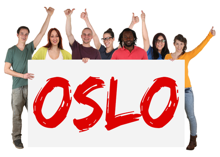 multi ethnic: Oslo group of young multi ethnic people holding banner isolated