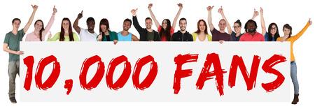 10.000 fans houdt van sociale netwerken media teken groep van jonge mensen die banner geïsoleerd Stockfoto - 45414125