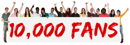 10000 fans likes social networking media sign group of young people holding banner isolated Archivio Fotografico