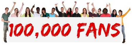 100000 fans likes social networking media sign group of young people holding banner isolated