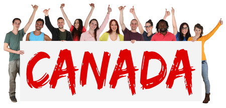 Canada immigration group of young multi ethnic people holding banner isolated