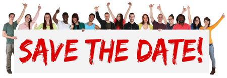 Save the date sign group of young multi ethnic people holding banner isolated