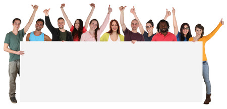 Group of happy young smiling multi ethnic people holding empty banner with copyspace Stockfoto
