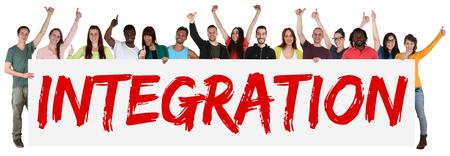 Integratie teken groep jonge multi-etnische mensen geïsoleerd holding banner Stockfoto - 45414149