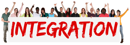 integrated: Integration sign group of young multi ethnic people holding banner isolated
