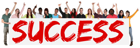 multi racial: Success successful group of young multi ethnic people holding banner isolated