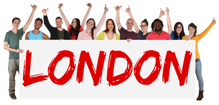multi racial groups: London group of young multi ethnic people holding banner isolated Stock Photo
