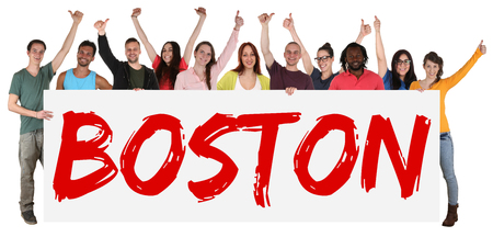 multiracial: Boston group of young multi ethnic people holding banner isolated Stock Photo