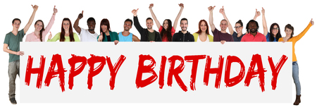 multiracial: Happy Birthday group of young multi ethnic people holding banner isolated