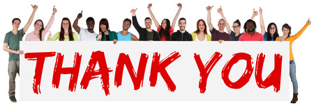 Thank You sign group of young multi ethnic people holding banner isolated Zdjęcie Seryjne