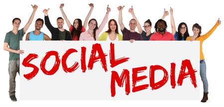 multi ethnic: Social media networking happy group of young multi ethnic people holding banner isolated Stock Photo