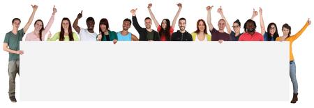 Grote groep van gelukkige jonge multi-etnische mensen die lege banner met copyspace Stockfoto