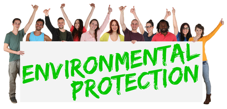 multi cultural: Environmental protection group of young multi ethnic people holding banner isolated