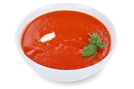soup bowl: Tomato soup meal in bowl with tomatoes isolated on a white background