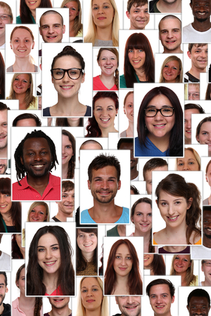 smiling faces: Background collage group portrait of multiracial young smiling happy people