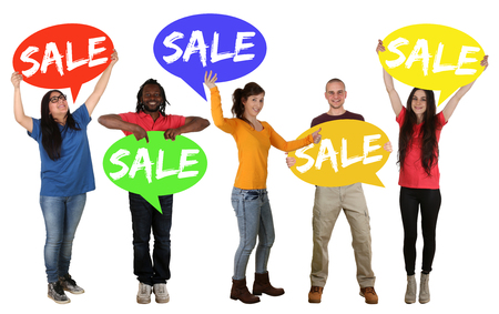 multi racial groups: Sale shopping group of happy young people holding speech bubbles isolated