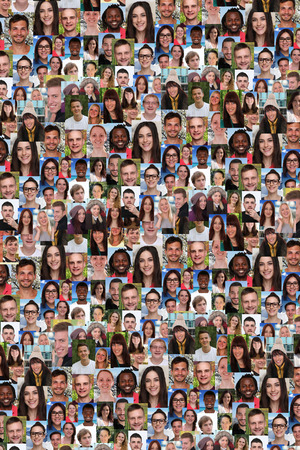 Achtergrond collage groep van multiraciale jongeren sociale media vluchtelingen diversiteit immigratie