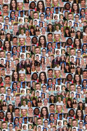 gesicht: Hintergrund Collage Gruppe von multirassische jungen Menschen soziale Medien Flüchtlinge Einwanderung Vielfalt