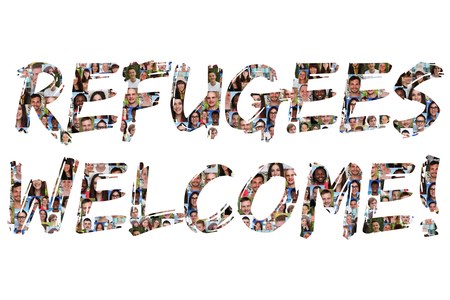 refugees: Refugees welcome group of young multi ethnic people isolated