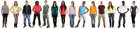 Smiling happy multicultural multi ethnic group of people standing in a row isolated on a white background