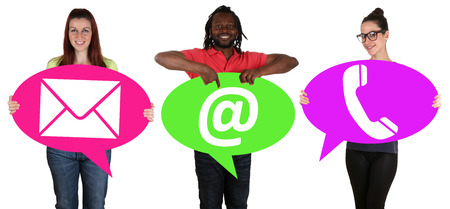 email contact: Young people holding speech bubbles with choosing communication contact telephone, mail or e-mail online