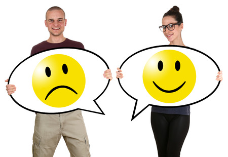 negative: Young people man woman with happy smiley voting survey