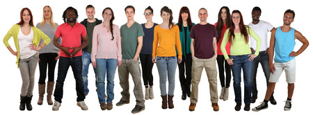 multi racial groups: Happy smiling multi ethnic group of young people isolated on a white background Stock Photo