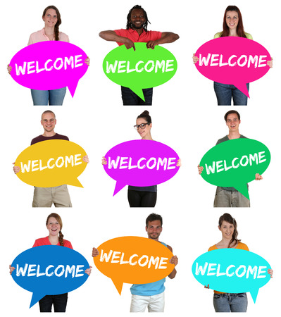 multi racial: Refugees welcome group of young multi ethnic people with speech bubbles isolated Stock Photo